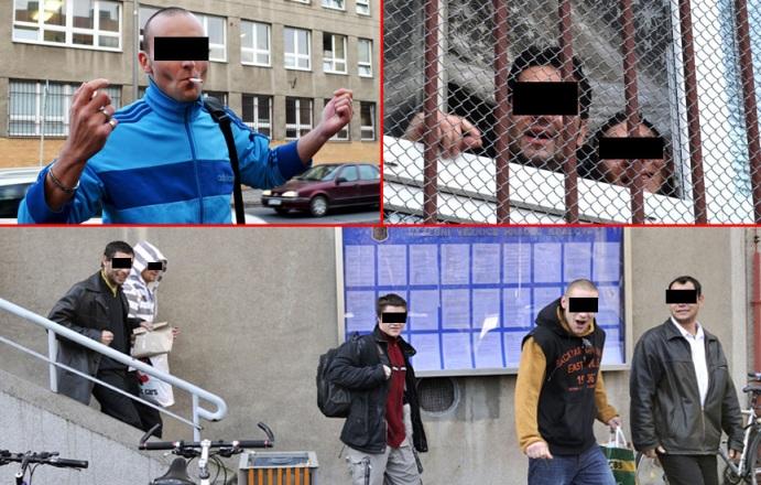 Skazani opuszczający mury więzienia po ogłoszeniu amnestii