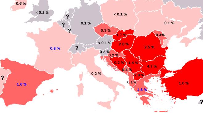 Populacja Romów w niektórych krajach Europy / polskieradio.pl